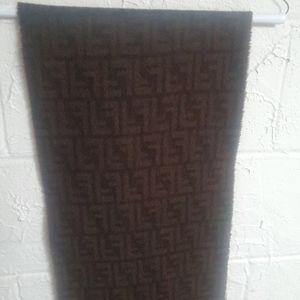 FENDI Zucca  Brown & Black Wool Scarf w/Fringe